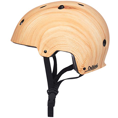 "Critical Cycles Classic Commuter Bike/Skate/Multi-Sport CM-2 Helmet with 11 Vents, Matte Wood Grain, Large: 59-63cm / 23.25""-24.75"