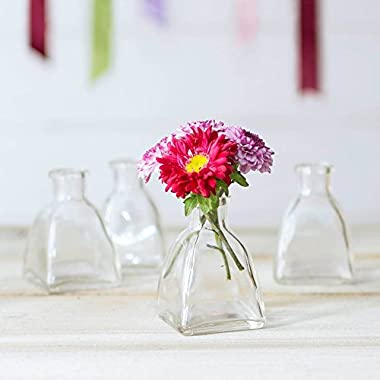 Glass Bud Vase, Angular Bottle, 2.25 in. wide x 3 in, Clear, 12 pack