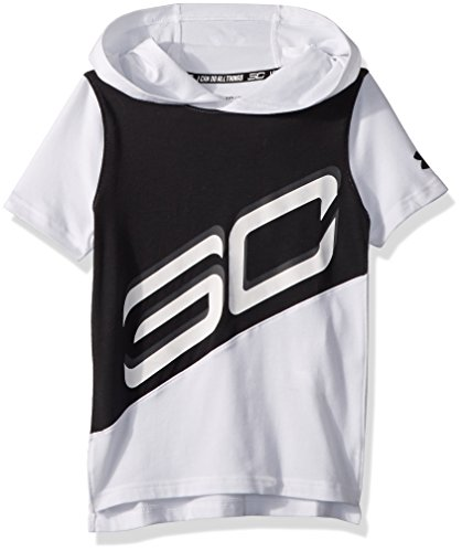 Under Armour Boys' SC30 Short Sleeve Hoodie, White (100)/Black, Youth X-Small