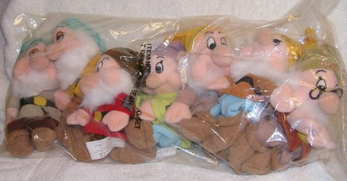 Disney Bean Bag Plush Stuffed Animals Snow White 7 Dwarfs