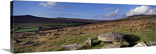 Neolithic stone rows on a landscape, Merrivale, Dartmoor, Devon, England Gallery-Wrapped Canvas