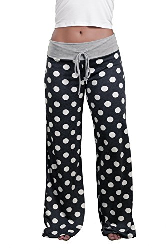 Inspire L' Amour Womens Casual Lounge Pants Polka Dot Charcoal Large