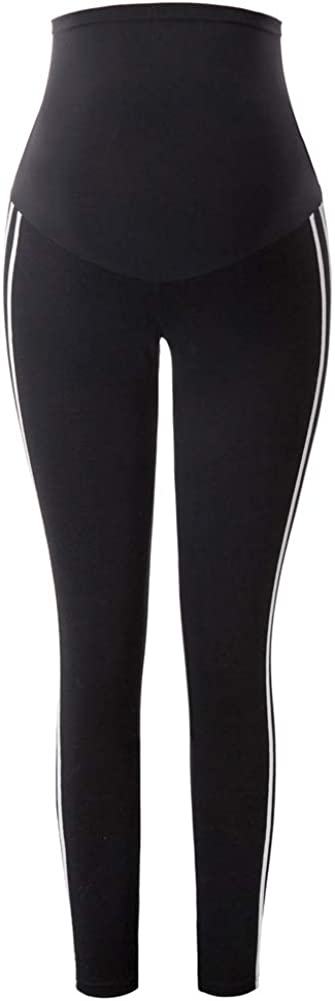 Maacie Maternity Elastic Leggings Pregnant Women High Waist Over The Belly Yoga Pants Strips Decorated