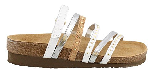 Naot Footwear Women's Prescott White Leather/Silver Mirror Leather/Gold Cork Leather 42 M EU by Naot Footwear