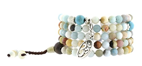 Elastic 6mm Simulated Amazonite Prayer Beads Meditation Mala Wrap Bracelet with Removable Charms (Om)