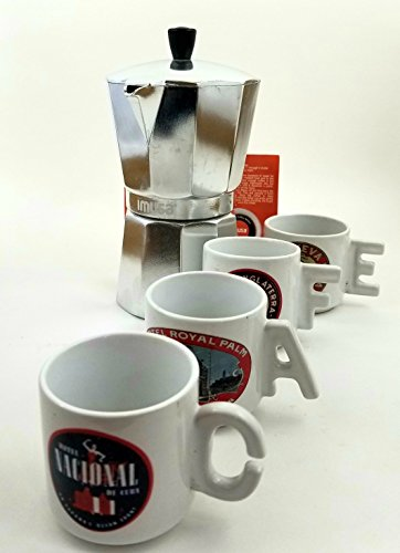 Imusa Classic Aluminum Stovetop Espresso Coffee maker 6-cup Bundled with Ceramic Coffee Mugs Set of 3.5 oz and Chrome Rack - The cups have printed the most emblematic hotels located in Cuba