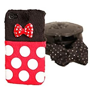 HP DF Lovely Bowknot Back Black and Red Dot Pattern Hard Case for iPhone 4 / 4S