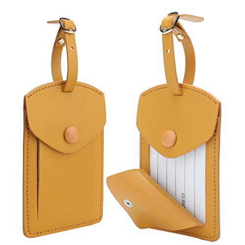 Kevancho Leather Smart Luggage Tags for Men Women, Suitcase Labels Baggage Tote Bag Tag ID Tags with Full Back Privacy Cover for Carnival Cruise Ship, Away Travel Accessories Tags Set of 2 PCS(Yellow)