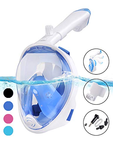 X-Lounger Snorkel Mask, 2018 New Foldable Snorkeling Mask Full Face with Detachable Camera Mount Pivot Arm and Earplug, 180° Large View Easy Breath Dry Top Set Anti-Fog Anti-Leak for Adults Blue S M