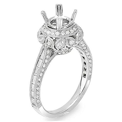 1.15 Carat (Ctw) 14K White Gold Diamond Semi Mount Ladies