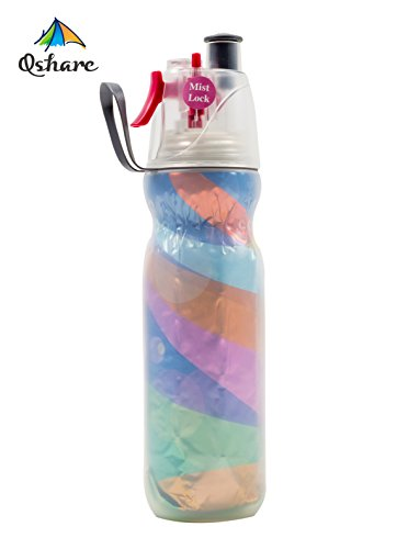 LONGDA Misting Squeeze Bottle, Insulated Drink N Mist Sport Water Bottle with Mist Sprayer, Outdoor Sport Hydration, BPA Free, 20oz