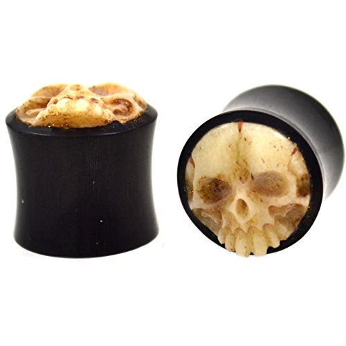 Organic Bone Plug Ear (Pair (2) Organic Horn Carved Skull Ear Plugs Bone Tunnels - 1/2