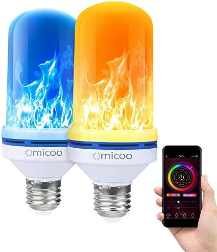 Omicoo Upgrade Led Flame Effect Fire Light Bulbs With Patents 4 Modes Multiple Colors E26 E27 Halloween Decorative Light Atmosphere Light Vintage Christmas Lights Controlled By Phone 2 Pack Amazon Com