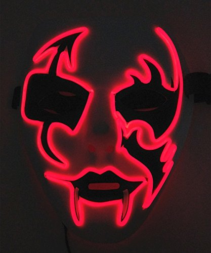 Cage-YYL Frightening Wire Halloween Cosplay LED Light up Mask for Festival Parties (Clown 2, (Horror Mask)