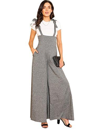 Verdusa Womens Self Tie Straps High Waist Pockets Culottes Overalls