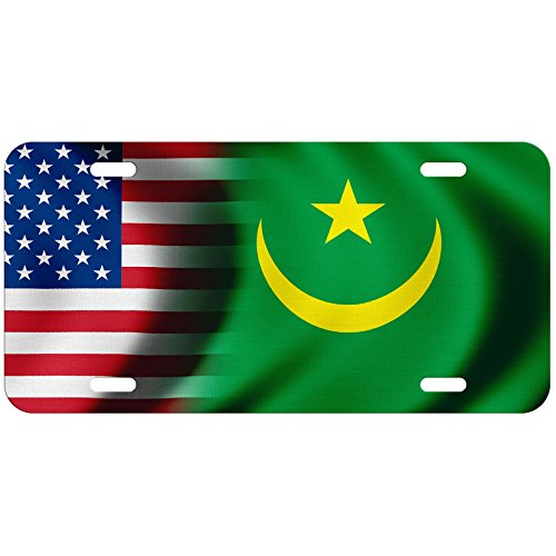 High Grade Aluminum License Plate - Flag of Mauritania (Mauritanian) - Waves/USA