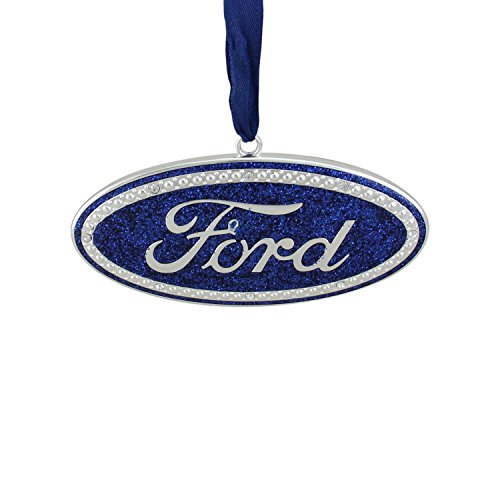 """Logo Ornament (4"""" Officially Licensed Blue """"Ford"""" Logo Silver Plated Christmas Tree Ornament)"""