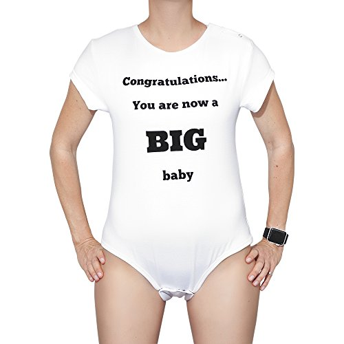 Funny Birthday Gifts for Him or Her Unisex Adult Baby Onsie Gag Gift for Men or Women (X-Large) White]()