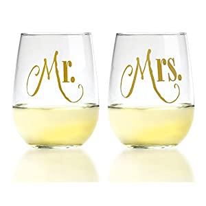 Mr. & Mrs. Gold Stemless Wine Glasses with Elegant Lettering, For Couples Engagement, Wedding Set, 17 Ounce