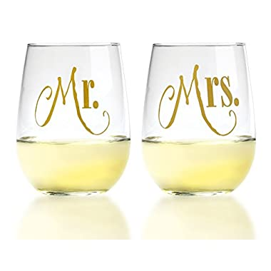 Smart Tart Mr. & Mrs. Gold Stemless Wine Glasses with Elegant Lettering, 17oz