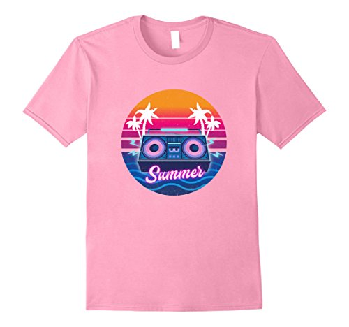 Men's 80s Summer T-Shirt. Vintage Retro Styling. Bright & Colorful Small Pink (80s Male)