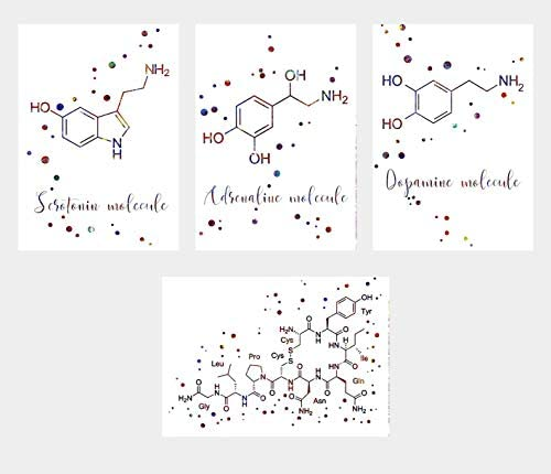 Adrenaline Energy Poster Print gift Wall art molecule science Greyscale