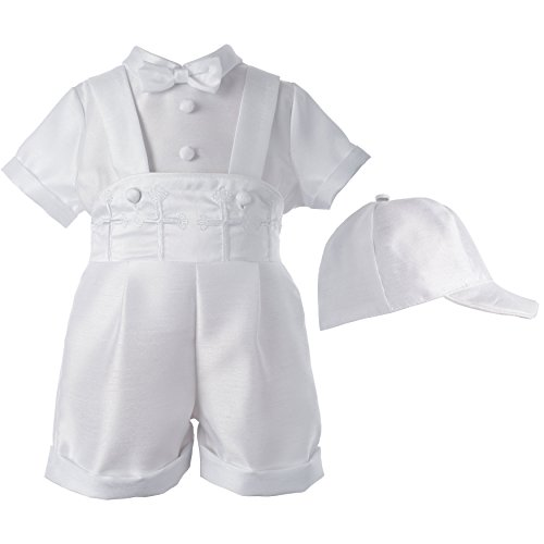 Lauren Madison Baby-Boys Newborn Christening Baptism 3- Piece Shantung Short Pant Outfit Set,White, 9-12 ()