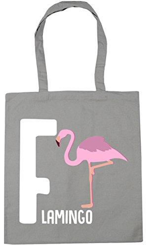 Shopping 42cm Grey Gym Hippowarehouse 10 Litres Beach X38cm Tote For Light Flamingo F Bag Animal Alphabet 00vYZ