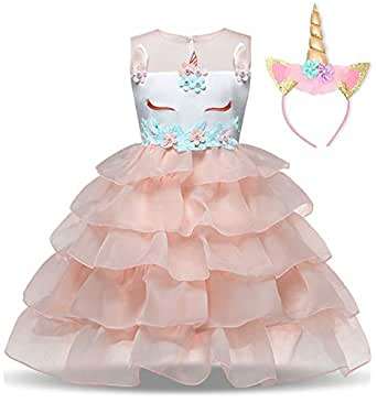 NNJXD Girl Unicorn Flower Ruffles Cosplay Costume Pageant Party Princess Dress Headband Size (100) 2-3 Years Peach
