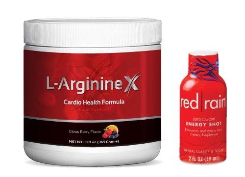 L-Arginine X --Nitric oxyde Cardio Formule --5000mg L-arginine, 1000mg L-citrulline, 50 Mg Coq10, le resvératrol, extrait de grenade, complète Formule Cardio santé pour améliorer la santé cardiovasculaire Naturellement, + Bonus Bouteille de Tir Red Rain é