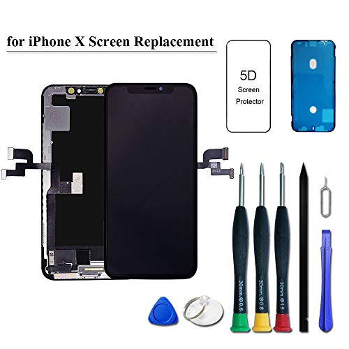 UNUS 3D in-Cell LCD Digitizer Replacement Kit for iPhone X Comes with Tempered Glass Screen Protector and Free Tool Kits Black
