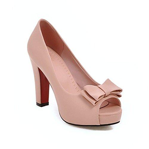 Sandalias Mujer/Sandalia con Pulsera para Mujer/Las Mujeres solteras Impermeable Pajarita Zapatos Boca de Pescado Sandalias de Tacón Alto de Gran Código Pink
