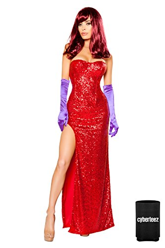 Sexy 2pc Women's Jessica Rabbit Sequin Corset & Long Dress Costume + Coolie -