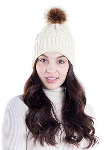 Hemantal Womens Beanie Warm Cable Knit Slouchy Beanie Hat with Faux Fur Pompom,White