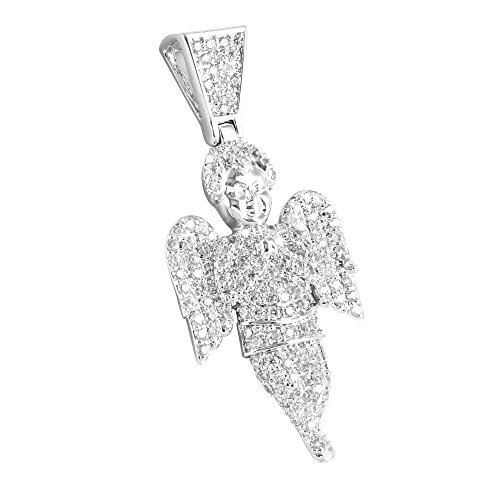 14k White Gold Finish Simulated Lab Diamond Flying Infant Angel Pendant Charm 3D by Master Of Bling
