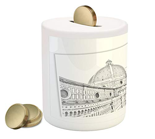 Lunarable Florence Piggy Bank, Drawing Image of Italian Landmark Building Architectural Sketch, Printed Ceramic Coin Bank Money Box for Cash Saving, Charcoal Grey White Pale Rust