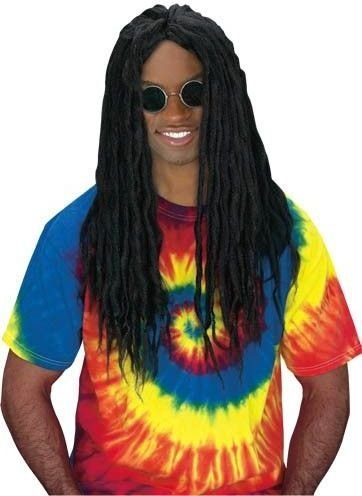 Fun World Men's Rasta Dred Wig, Black, Standard -