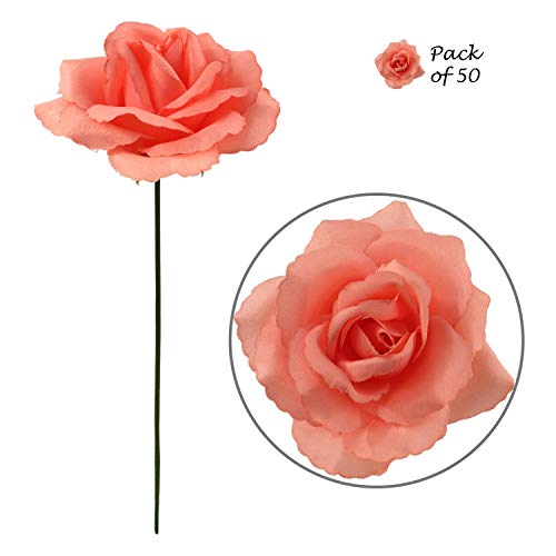 Peach Rose Silk Rose Picks - 50 pcs - Beautiful Real Look Artificial Roses with Flexible Ready-to-Cut 8