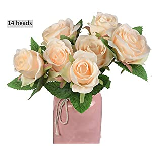 Ivalue Artificial Silk Rose Flower Bouquets Champagne 2 Bundles 14 Heads Fake Rose Bouquets for Home Wedding Decoration (Champagne, 2) 64