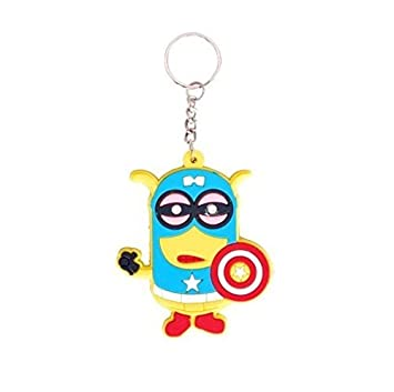 GCT Single Sided Despicable Me Minion with Captain America Logo Cartoon  Movie Character Rubber Keychain  6d8ab79957