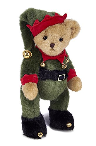 Bearington Jingle Toes Plush Christmas Elf Teddy Bear, 14 inches