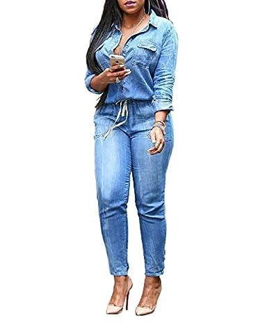 Evalent Women's Plus Size Denim V Neck Long Sleeve Belted Jeans Jumpsuits Pants Elastic Waist Romper (XXL)