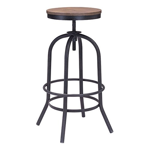 Express Adjustable Height Stool Swivel (Zuo Twin Peaks Barstool, Distressed Natural)