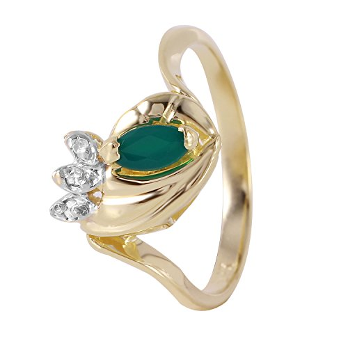 0.25 Carat Natural Agate Diamond 14K Yellow Gold Engagement Ring for Women Size 6.5