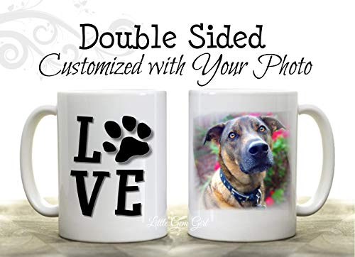 LOVE Custom Photo Dog Lover Cat Lover Coffee Mug - Pet Paw Print Coffee Cup with your Personalized Picture - 15 ounce