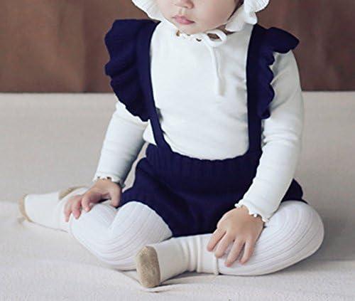 41T1gFVW%2B7L. AC - Pinleck Baby Girls Knitted Ruffle Cute Romper Cross Bandage Jumpsuit Bodysuit