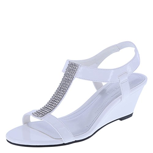 Predictions Comfort Plus Women's White Patent Women's Swanky Embellished Wedge 10 Wide