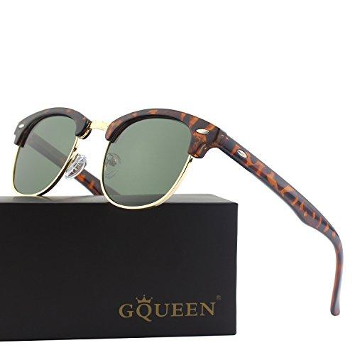 GQUEEN Clubmaster Horn Rimmed Half Frame Polarized Sunglasses - Rimmed Horn Sunglasses