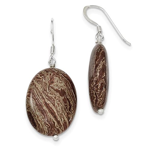 Brown Dangle Earrings (925 Sterling Silver Polished Brown Jasper Shepherd Hook Dangle Earrings 18mm x)