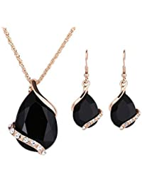 Women Crystal Pendant Gold Plated Chain Necklace Earring...